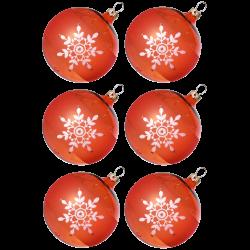 Weihnachtskugeln Set, 6 orange Kugeln Ø 8cm Kristallblüten, Thüringer Glas Weihnachtsschmuck