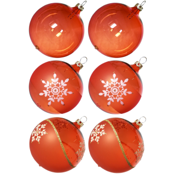 Weihnachtskugeln Mix-Box, 6 orange Kugeln Ø 8cm, Thüringer Glas Weihnachtsschmuck