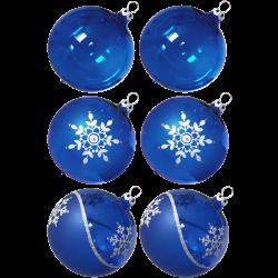 Weihnachtskugeln Mix-Box, 6 kobaltblau Kugeln Ø 8cm, Thüringer Glas Weihnachtsschmuck