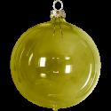 Weihnachtskugeln Set, 6 Kugeln Ø 8cm moosgrün transparent, Thüringer Glas Weihnachtsschmuck