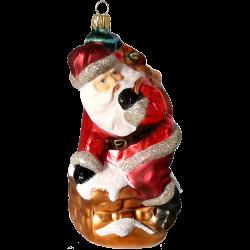 Santa auf Kamin 18cm Schatzhauser Thüringer Glas und Weihnachtsschmuck