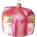 Geschenk von Herzen pink 8,5x7,5x7,5cm Thüringer Glas Weihnachtsschmuck Schatzhauser