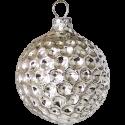 Waffel Ornament Silberform Kugel Ø 6cm Schatzhauser Thüringer Glas und Weihnachtsschmuck