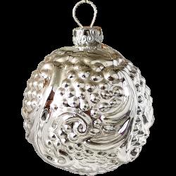 Rocaillen Kugel Ornament Silberform Ø 5,5cm Schatzhauser Thüringer Glas und Weihnachtsschmuck