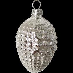 Waffel Ornament Silberform Blüte 6,5cm Schatzhauser Thüringer Glas und Weihnachtsschmuck
