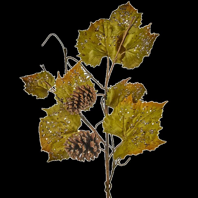 Zweig Eistraubenblatt Pinienzapfen 70cm - florale Fest- und Weihnachtsdeko