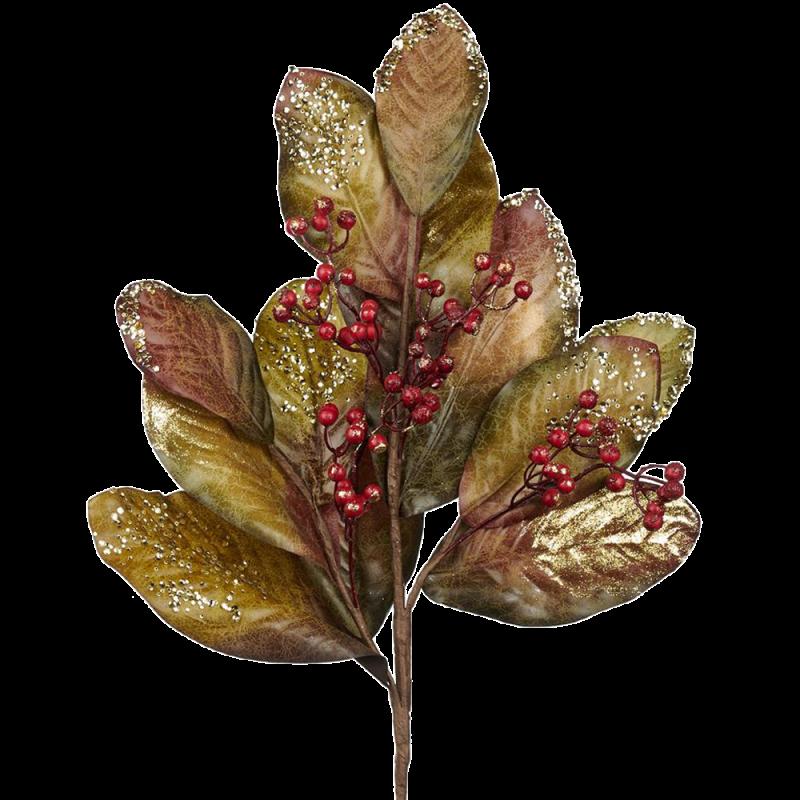 Zweig Magnolienblatt mit Beeren 89cm - florale Fest- und Weihnachtsdeko