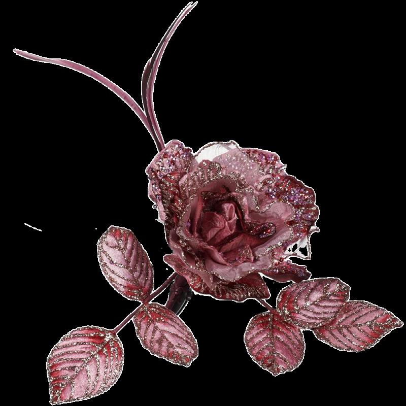 Feder Rose mit Clip 28cm - florale Fest- und Weihnachtsdeko