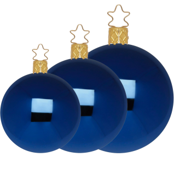 Christbaumkugeln Anderswelt Ø 8-12cm Mitternacht blau Inge Glas® Schmuck Christbaumschmuck