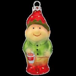 Wichtel mit Eimer 9cm Thüringer Glas Weihnachtsschmuck