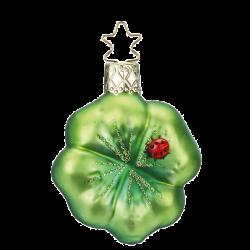 Grünes Kleeblatt 6,5cm Neujahrsglück Inge-Glas Weihnachtsschmuck
