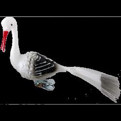 Vogel Storch 9cm Schatzhauser - Lauschaer Glaskunst, Thüringer Weihnachtsschmuck