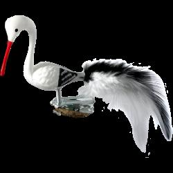 Vogel Storch Mini-Storch 6cm Schatzhauser - Lauschaer Glaskunst, Thüringer Weihnachtsschmuck