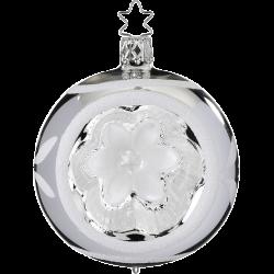 Reflexkugel Blume silber glanz Ø 8cm Inge-Glas® Christbaumschmuck