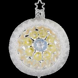 Reflexkugel Blüte blau weiß matt Ø 8cm Inge-Glas® Christbaumschmuck