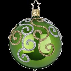 Christbaumkugel Engelstanz grün opal Ø 8cm Inge-Glas Weihnachtsschmuck