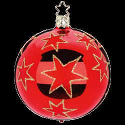 Christbaumkugel Weihnachtssterne rot glänzend Inge-Glas® Christbaumschmuck