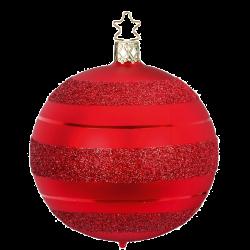 Christbaumkugel moderne Streifen rot matt Inge-Glas® Christbaumschmuck
