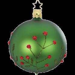 Christbaumkugel Wildblume fichtengrün matt Inge-Glas® Christbaumschmuck