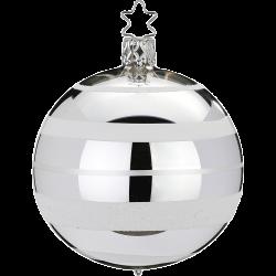 Christbaumkugel Streifen silber glanz Inge-Glas® Christbaumschmuck